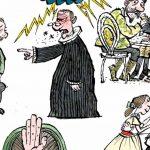 tegning der illustrerer Foredraget om Indre Mission i Folkeuniversitetets regi 6.11