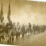 KFUM og K spejdere på march til Tersløse kirke nytårsaften 1972. KFUM og K var indtil 1979 IMs ungdomsorganisation
