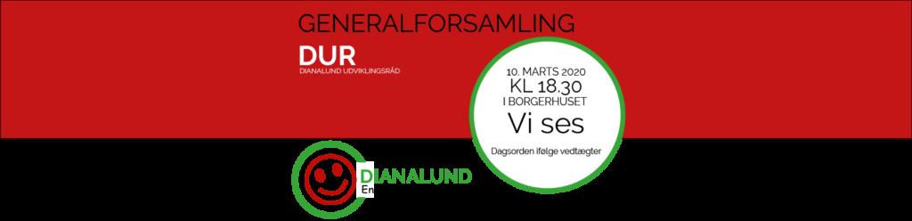 Reklamebanner til Dianalund Udviklingsråds generalforsamling kl. 18.30 den 10. marts 2020