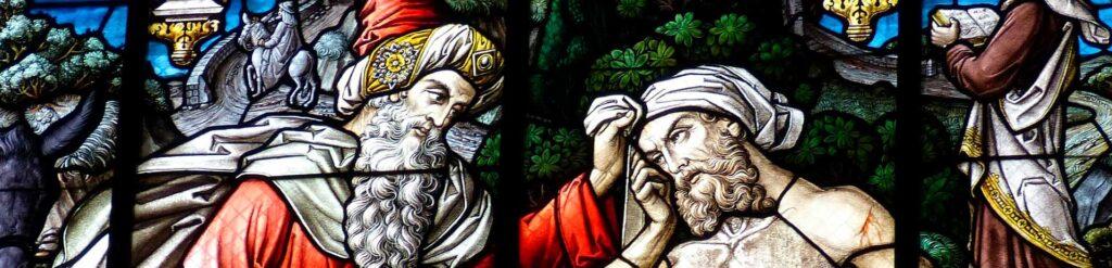 Glasmosaik af en samaritaner i frobindelse med fortællingen om den barmhjertige samaritaner der bruges til støttekoncerten for Folkekirkens Nødhjælp i Tersløse Kirke ved Dianalund